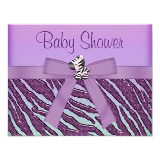 Zebra & Cupcakes Purple Baby Shower 4.25x5.5 Paper Invitation Card