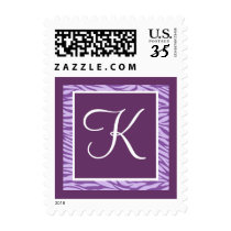 Zebra Custom Monogram Purple Lavender Postage