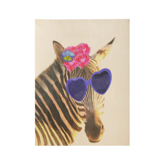 Zebra cute jungle wild african animal nursery wood poster