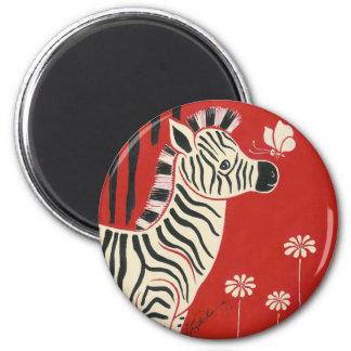Zebra, Daisies & Butterfly 2 Inch Round Magnet