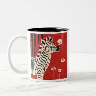 Zebra, Daisies & Butterfly