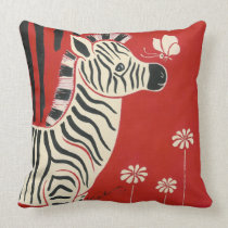 Zebra, Daisies & Butterfly Pillow