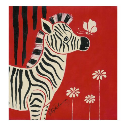 Zebra, Daisies & Butterfly print