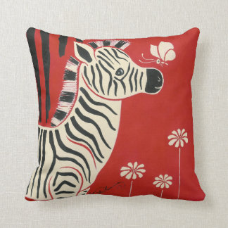 Zebra, Daisies & Butterfly Throw Pillow
