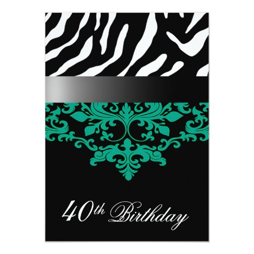 "Zebra Damask Fabulous at 40 Birthday Party 5"" X 7"" Invitation Card"
