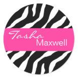 Zebra Damask Fabulous Name Party Sticker sticker