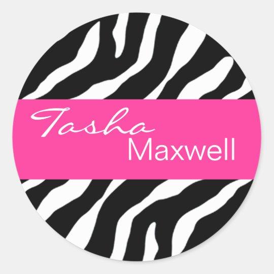 Zebra Damask Fabulous Name Party Sticker
