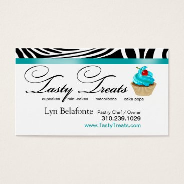 "Professional Business Zebra Designer Cupcakes ""Tasty Treats"" aqua Business Card"