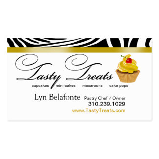 "Zebra Designer Cupcakes ""Tasty Treats"" gold Business Card"