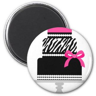Zebra Diva Cake 2 Inch Round Magnet