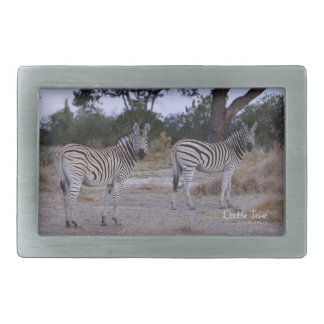 Zebra Double Take Photo Rectangular Belt Buckle