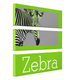Zebra Drawing On Bright Green Background Canvas Print