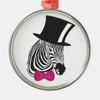 Zebra Elegant Unique Metal Ornament