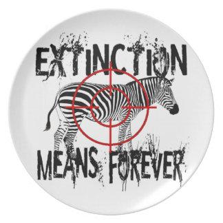 Zebra Extinction? Melamine Plate