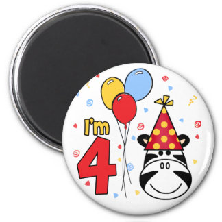 Zebra Face  4th Birthday 2 Inch Round Magnet