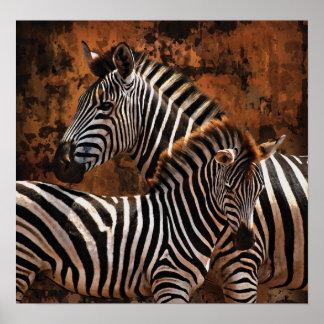Zebra Fall Stripes SMALL poster, print, wall art