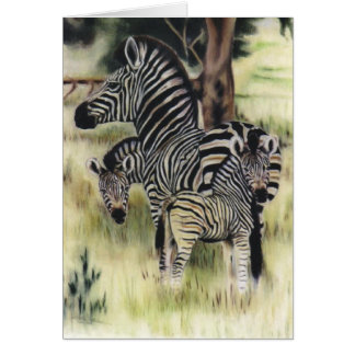 """Zebra Family"" Greeting Card"