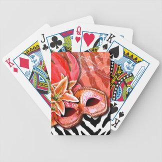 Zebra Fantasy Masquerade - orange | coral Poker Cards