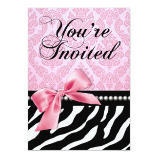Zebra Fascination 40th Birthday Party Card