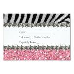 "Zebra Faux Rhinestone Pink Glitter RSVP 3.5"" X 5"" Invitation Card"