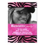 Zebra Feather Bachelorette Party Pink 5x7 Paper Invitation Card
