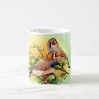 Zebra finch realistic painting coffee mugs