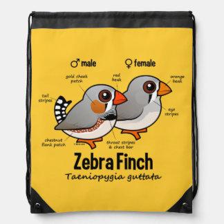 Zebra Finch Statistics Drawstring Backpack