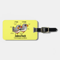 Zebra Finch Statistics Small Luggage Tag with leather strap