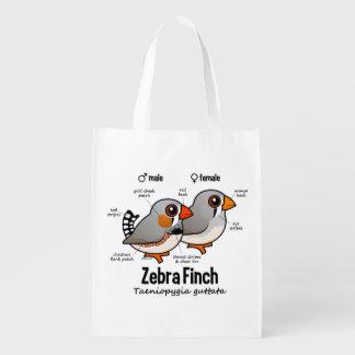 Zebra Finch Statistics Reusable Grocery Bag