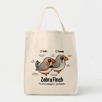 Zebra Finch Statistics Grocery Tote