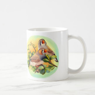 Zebra finches realistic painting mugs