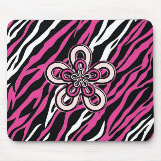 Zebra Flower - Pink & White Mousepad