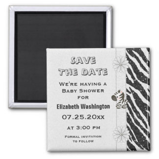 Zebra & Flowers Baby Shower Save the Date 2 Inch Square Magnet