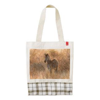 Zebra foal in morning light zazzle HEART tote bag
