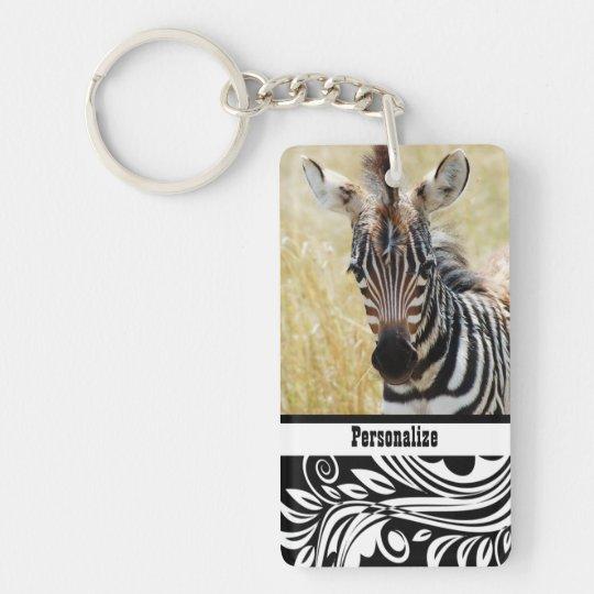 Zebra foal stripes baby photography keychain