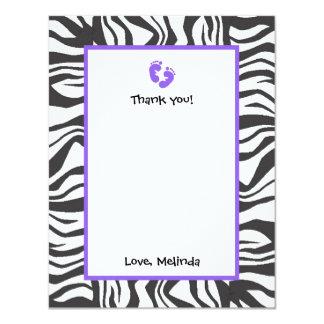 Zebra Frame Thank You Note PURPLE FEET Card