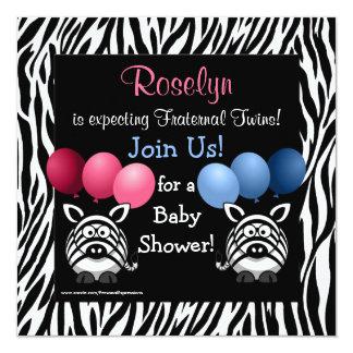 Zebra Fraternal Twins Baby Shower Invitation