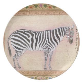 Zebra, from the 'Minto Album', 1621 (gouache on pa Plates