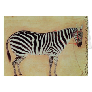 """Zebra, from the """"Minto Album"""", Mughal, 1621, Card"""