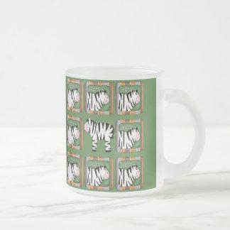 Zebra Frosted Glass Coffee Mug