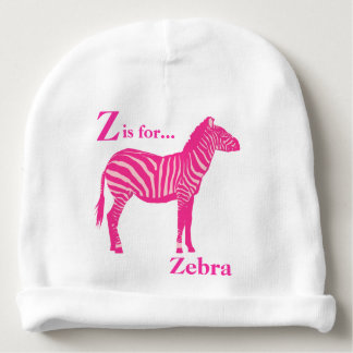 Zebra - Fuchsia and light pink Baby Beanie