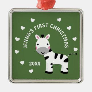 Zebra Fun Baby's 1st First Christmas Gift Metal Ornament