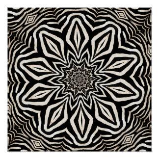 Zebra Fur Kaleidoscope Abstract Poster