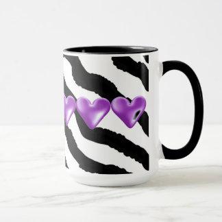 Zebra Fur Print With Hearts Mug