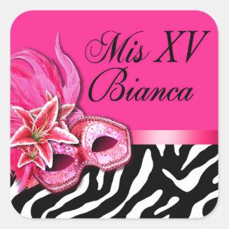 Zebra Fuschia Masquerade Quinceañera Sticker