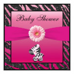 Zebra, Gerbera & Animal Print Glitter Baby Shower Invite