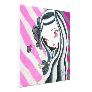 Zebra Girl And Pink Stripes Canvas Print