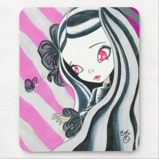 Zebra Girl And Pink Stripes Mouse Pad
