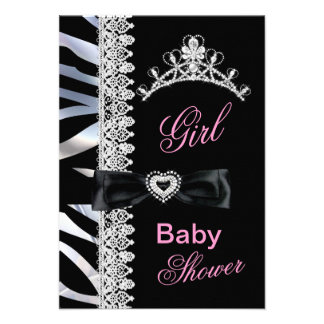 Zebra Girl Baby Shower Princess Tiara Personalized Announcement