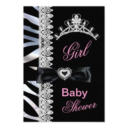 Zebra Girl Baby Shower Princess Tiara Personalized Announcement